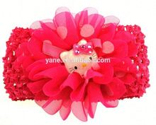 cute baby crochet headwrap with flower and cat decoration,fashion baby hair accessories