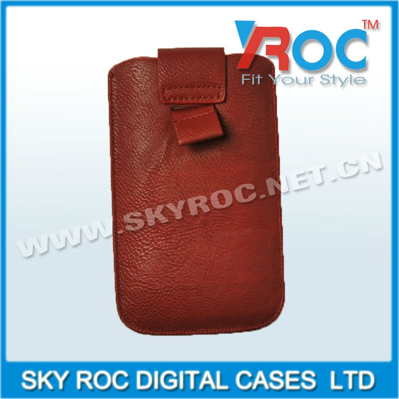 Red Universal leather pouch case for Sam Galaxy I9100 S2 for iph 4 4S