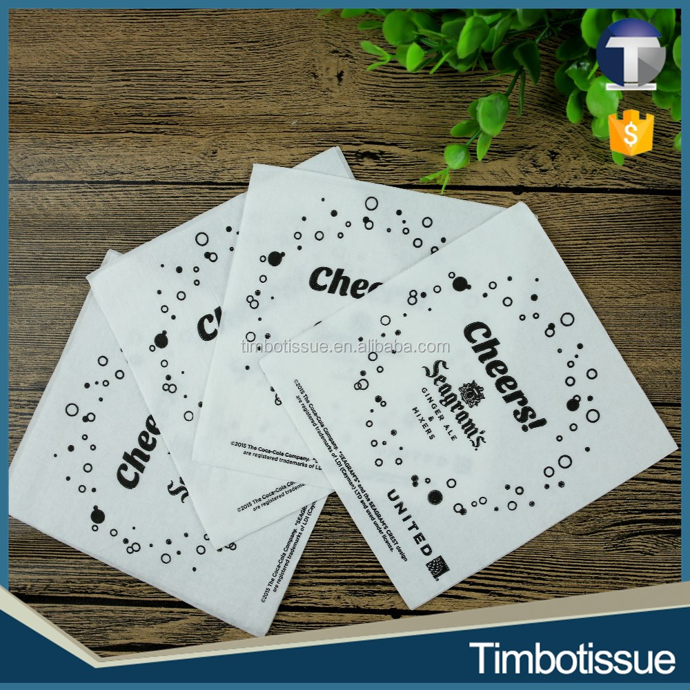 Hot sale white color napkin for restaurants with logo printed