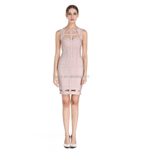 2017 high quality london party style nude 90% rayon celebrity sexy bandage dress