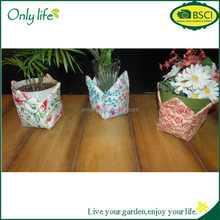 Onlylife factory selling Custom/Decorative Fabric Flower Pot/Planter Cover/Holder-White/Pink/Floral-New!!