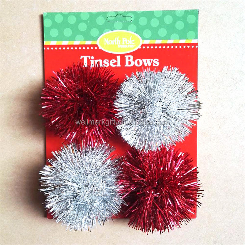 4.5 inch Self Adhesive Tinsel Garland Ribbon Christmas Gift Bow
