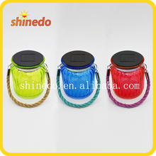 2016 new design mini solar jar with hemp rope for home and garden decoration