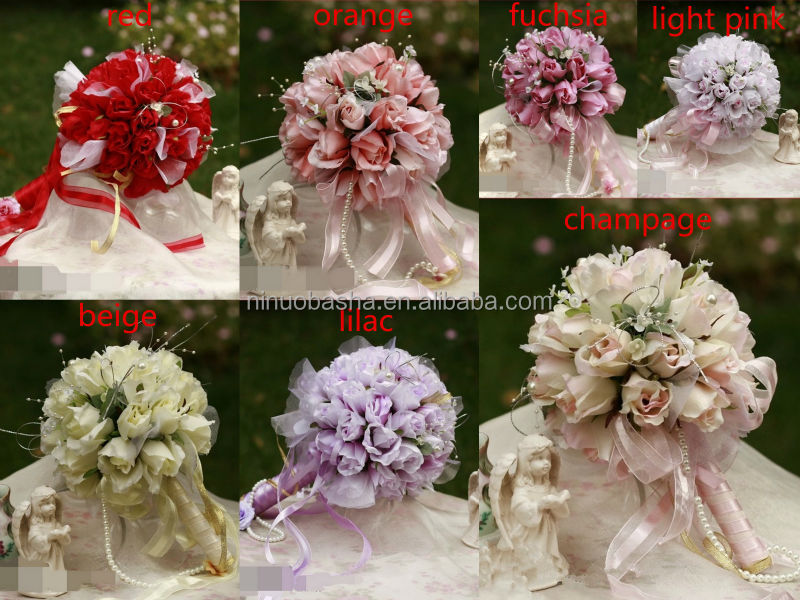 Dramatic 2014 Wedding Bouquet Artificial <strong>Flower</strong> For Wedding With Pearls NB0984