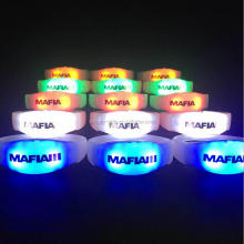 Custom logo Motion Activated Led Glow Lighting Wristband Sound Activated Flashing Led Silicone Bracelet