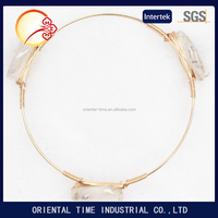 stackable crystal handmade bangles jewelry Pulseira Masculina white Drawing Stones Gold Plated Wire Bangle Bracelet