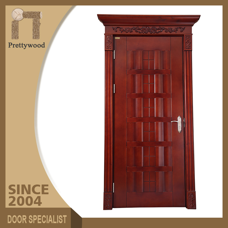 Foshan Factory Luxury Wine Red House Front Entry Doors Wood Door