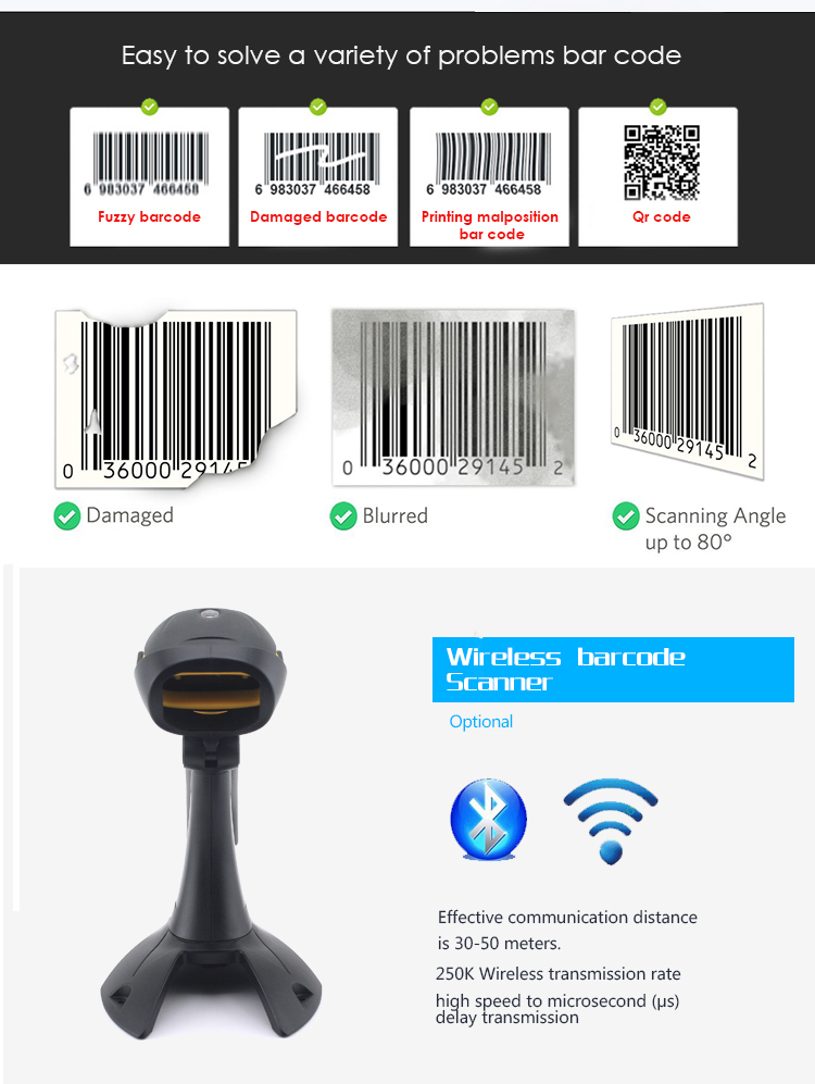 1D laser handheld barcode scanner with stand