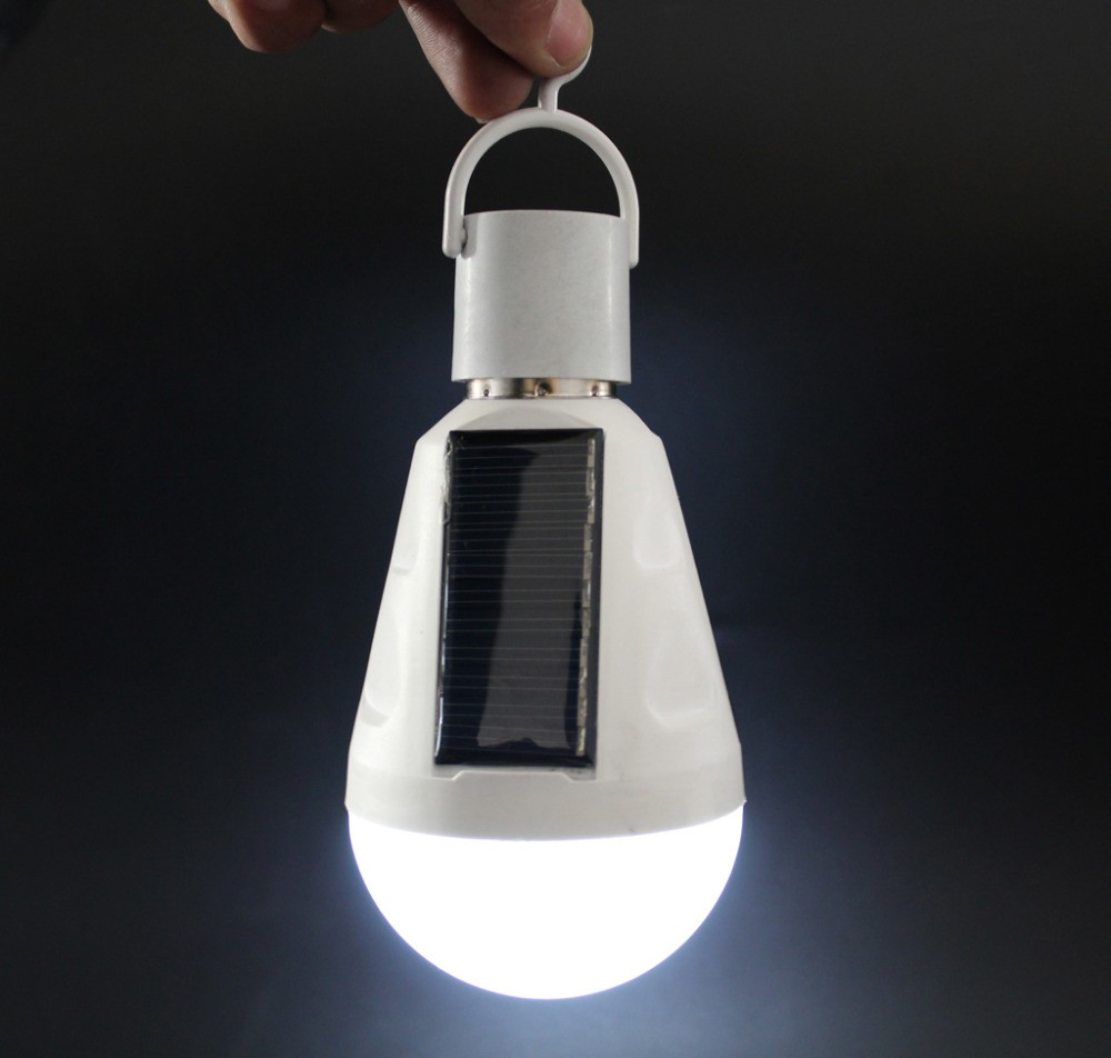E27 AC85-265V Waterproof IP65 rechargeable emergency light 7W 12W solar light <strong>bulb</strong> For Outdoor