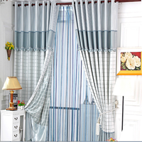 Modern square pattern curtain with lace design