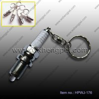 super-bright aluminum LED spark plug keychain