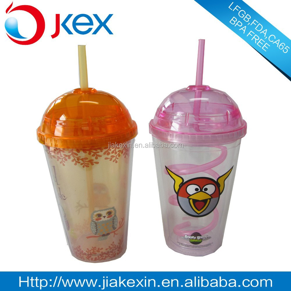 2016 New Ice Cream Straw Mug, BPA Free Bottle, semicircle lid.