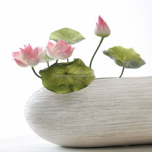 Artificial Silk Plastic Potted Lotus Fake Flower For Home Decoration