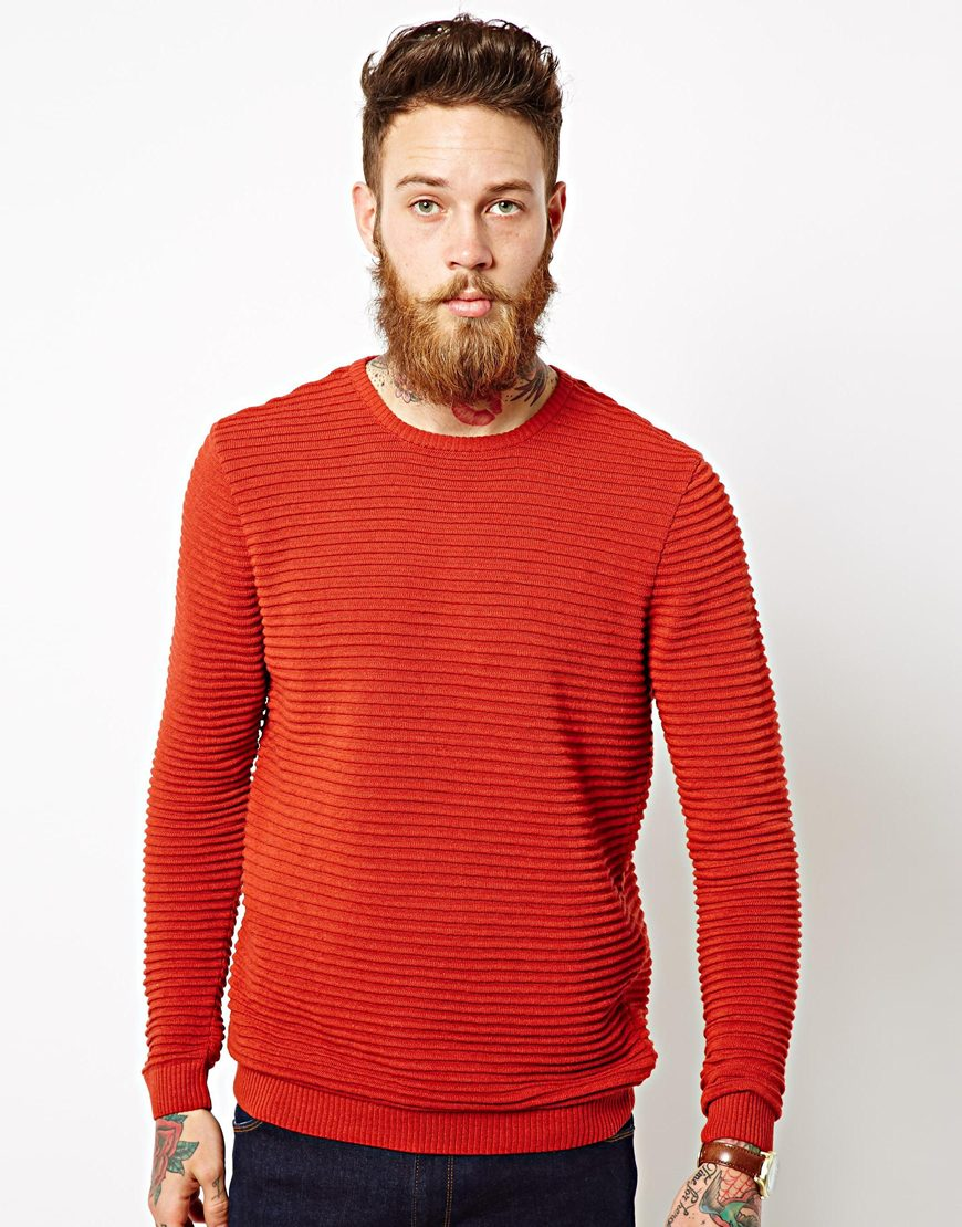 Man's soft ribbed knit Crew neck Jumper Sweater