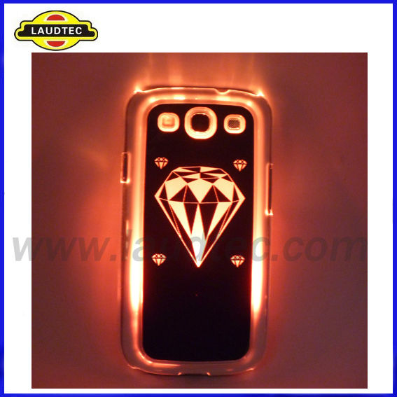 Newest Style Light Up phone Case for Samsung Galaxy S3 i9300,Sense LED Colorful Flash light case---Laudtec