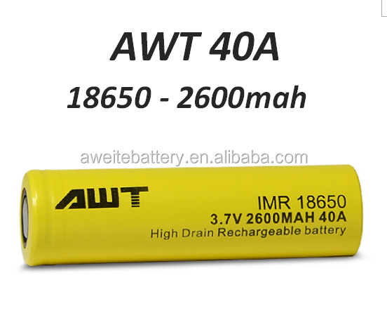 High power AWT 18650 2600mah 40amp ecig battery for subox mini starter kit air 50 RX75W protank 4 air 50 dripbox 160w