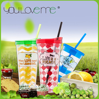 promotionals BPA free plastic double wall tumbler with straw, soccer drinking cups