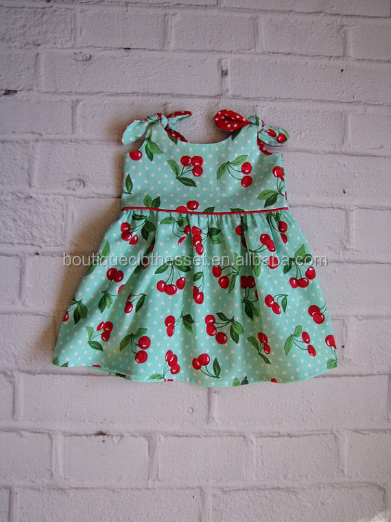 Wholesale Aqua Cherries Infant Dress Little Girls Knit Cotton Cherry Dress Lovely One Piece Cherry Dress