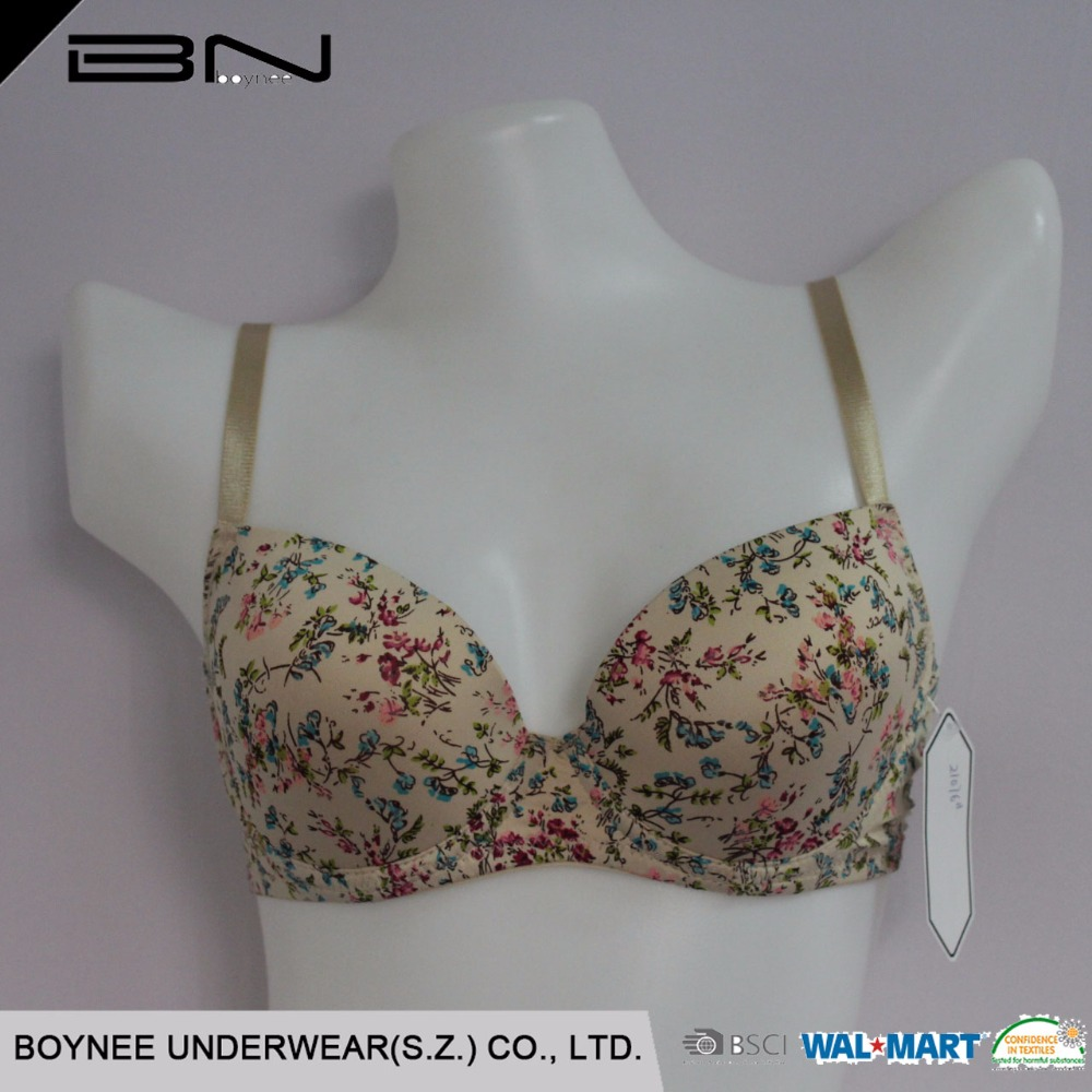 Young ladies floral printed underwire seamless bra