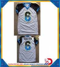 White Black shoulder sublimation tackle twill Custom American Football uniforms 2015