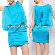 Online dress shopping wholesale blue chiffon sleeveless summer casual women clothing