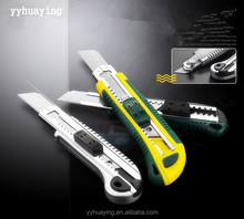 New Industrial Multi Functionl manufacture easy cut 18mm utility knife with co-molded safety cutter knife