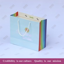Custom Logo Printing Rainbow designs color gift bag with ribbon handle (free samples offer )