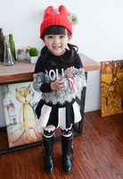 European Kids Girls Lace Letter T-shirt Tops Long Sleeve Cotton Soft Fashion Kids Girls Outfits GT81110-81