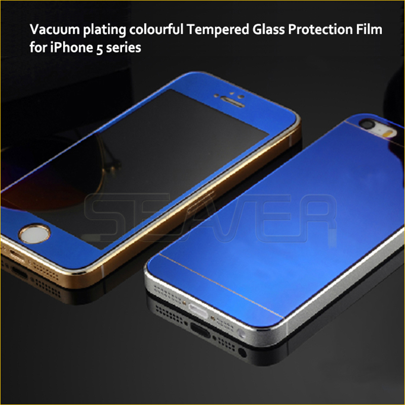 Hot Sale Screen Protector For Iphone5,For Iphone 5 5g 5s Front+back Mirror Color Glass Film Screen Protector Cover