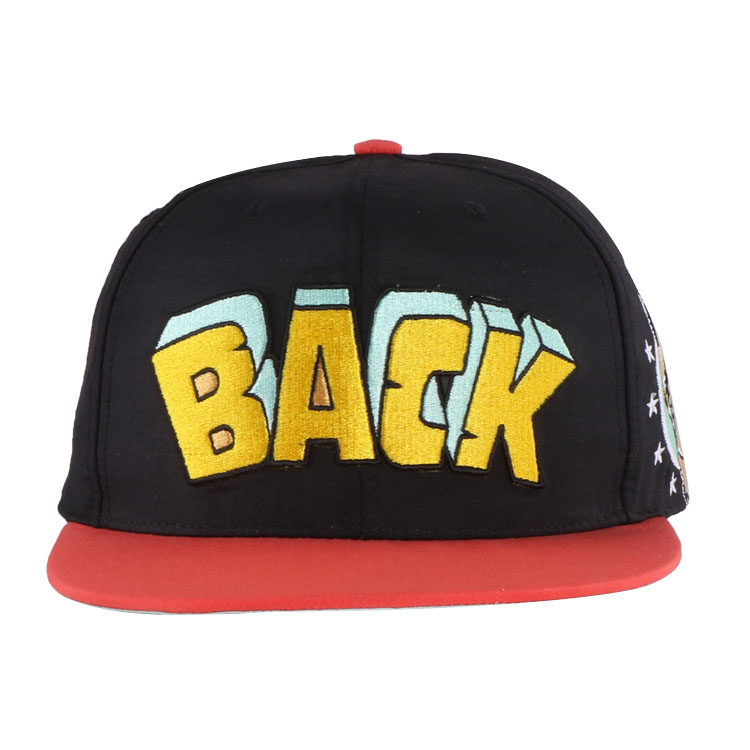 100% acrylic funny kids flat embroidery children snapback <strong>cap</strong> with red brim