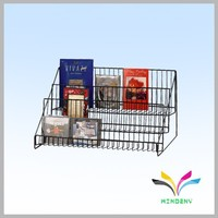 Double tiers countertop collapsible powder coated wire metal book store display rack