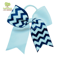 School sports meeting Stripe Cheer bows pony, ponytail cheer bow band, cheer bows