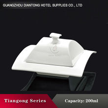 square guangdong covered white ceramic soup tureen