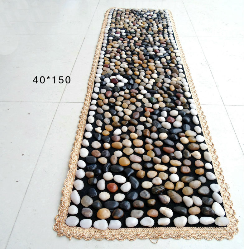 Natural Pebble Foot Massage Mat 40*150mm Colorful Smooth Stone Pattern Design