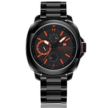 Hot Sale Brand New Chronograph 24 Hours Black Red Dial Stainless Steel Band Men Outdoor Sport Watch Men Watch Relogio masculino