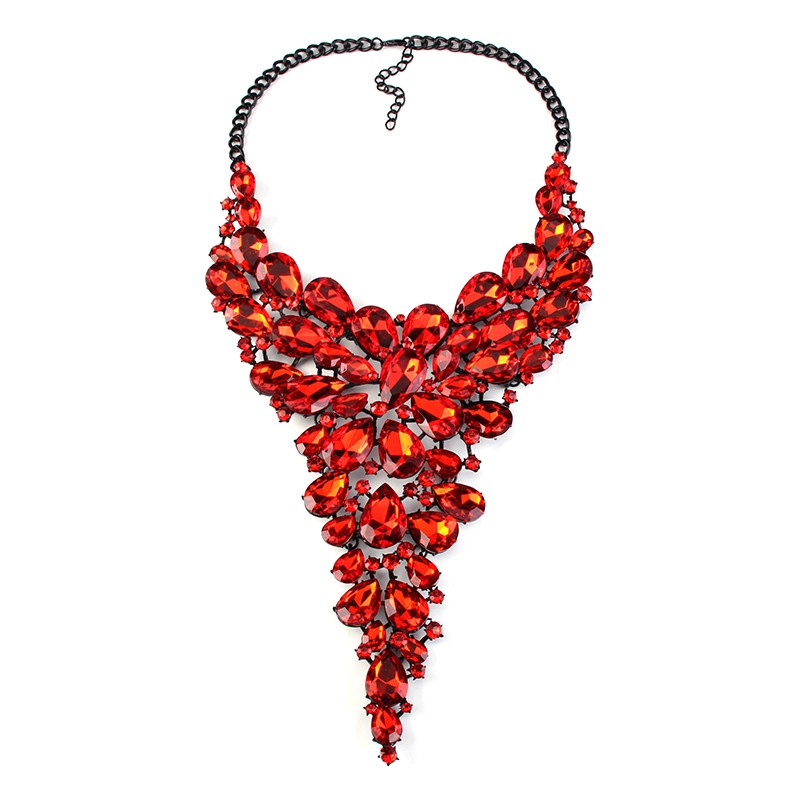 new Luxury jewelry female acrylic crystal statement necklace Maxi Wedding jewelry 33001
