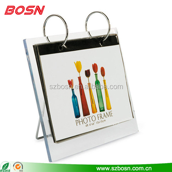 Acrylic calendar display, acrylic calendar holder with metal rack