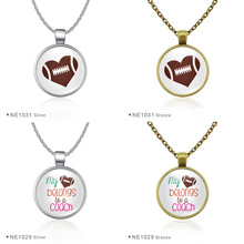Sports Football Rugby Glass Cabochon Pendant Statement Necklaces