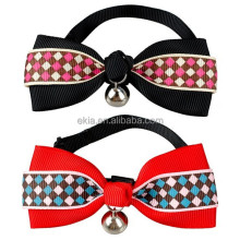 Polyester Cute Grid Bowknot Dog Puppy Cat Bow Tie Necktie Dog Collars With Bell Tie Collar ,Cat Collar