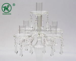 New 5-arm/ post clear candle stick holder with crystal hanging beads /beautiful glass stripe stem