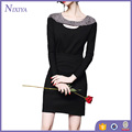 Factory Price Studded Beads Shinning Law Front Long Sleeve Black Dress
