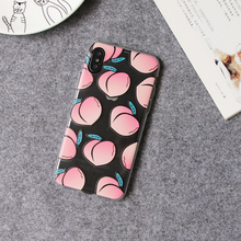 Fruit peach phone case for iphone x 8 7 6 7plus 6plus transparent soft tup colored printing cover case best gift