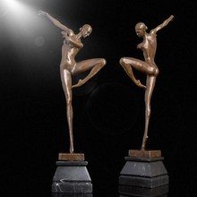 Tabletop decoration bronze nude dancing girl statue/sculpture for sale