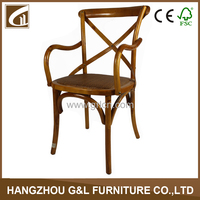 factory direct sale x chair/antique birch wood rattan seat cross back armrest chair