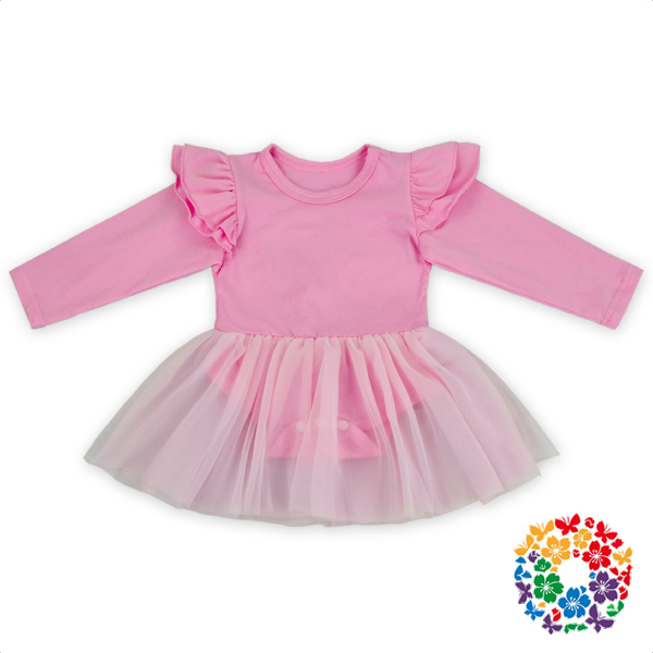 Solid Color Pink Baby TuTu Dress Plain White Baby Rompers Infant Long Sleeve Bodysuit