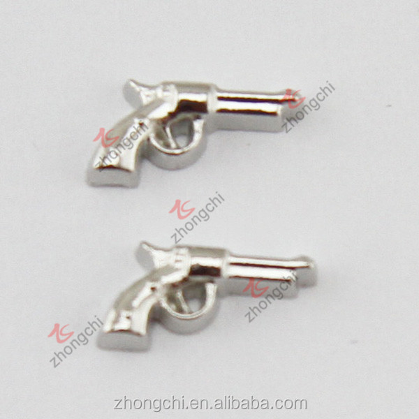 Cool gun charms, silver gun locket charms for locket pendant necklace