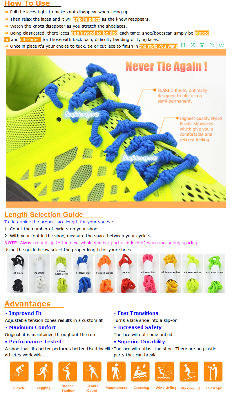 No Need To Tie Triathlon Elastic Laces with Knots~Top level best-Selling No Need Tie Knotted Elastic Shoelaces~Accept Custom