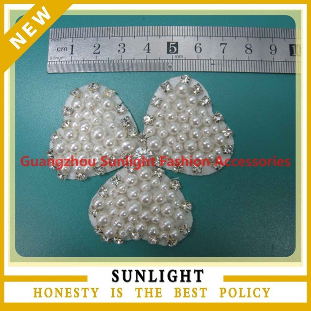 Lastest pearl bead applique pattern for bridal dress