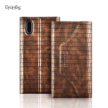 Deluxe Crocodile Pattern PU Leather Protective Flip Wallet Folio Stand Case Cover With Card Holders for iPhone X