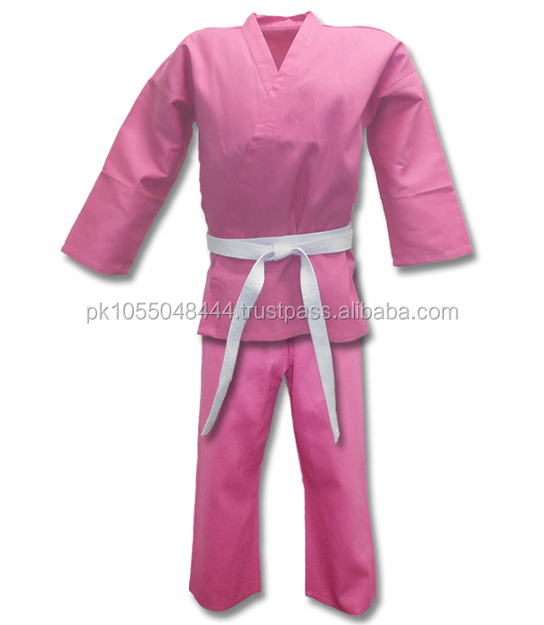 Pink women Karate Suit with belt custom designs all colors, Very good quality available all sizes